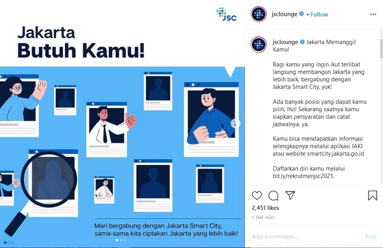 Jakarta Smart City membuka lowongan pekerjaan bagi masyarakat Indonesia untuk 39 jabatan.