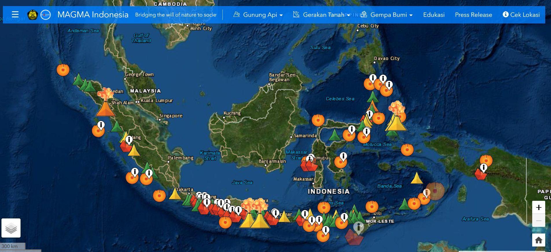 Peta Status Gunung Berapi di Indonesia