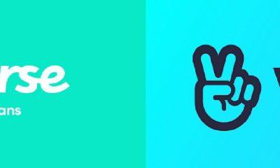 Logo Weverse (Hijau) dan V:ive (Biru)