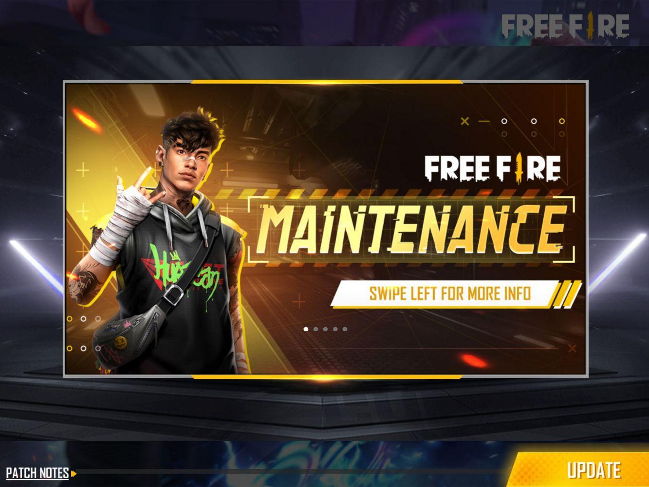Maintnance Free Fire berlangsung dari pukul 11.00 WIB