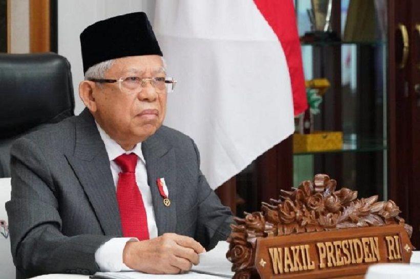Wakil Presiden Ma'ruf Amin mengikuti peringatan Hari Konstitusi Tahun 2020 secara virtual dari kediaman dinas wapres di Jakarta, Selasa 18 Agustus 2020.